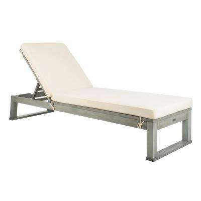 Solano Ash Grey Adjustable Wood Outdoor Lounge Chair with White Cushion