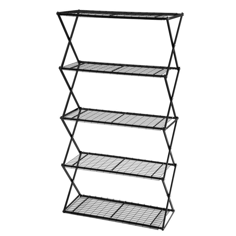 Exy 5-Tier Powder Coated Steel Tube Shelving in Black