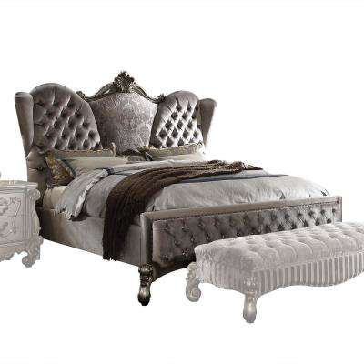 Versailles Velvet and Antique Platinum Queen Bed