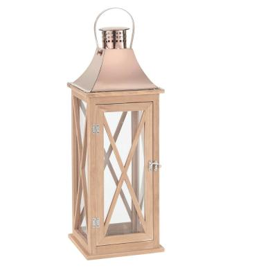 22 in. Wood Lantern Outdoor Patio with Metal Top