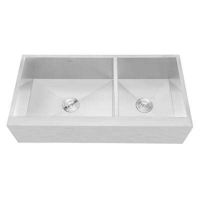 Farmhouse Flat Apron Stainless Steel 42 in. x 21 in. x 10 in. 16-Gauge Double 60/40 Bowl Zero Radius Kitchen Sink Combo