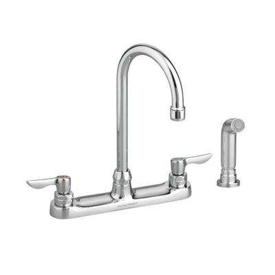 Monterrey 2-Handle Standard Kitchen Faucet with Side Sprayer and 5 in. Reach Gooseneck Spout in Polished Chrome