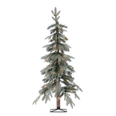4 ft. Pre-Lit Flocked Natural Cut Alpine Artificial Christmas Tree with 50 Clear Lights