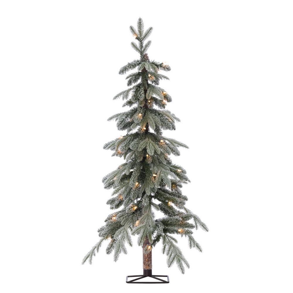 Where To Cut Christmas Trees: Sterling 4 Ft. Pre-Lit Flocked Natural Cut Alpine