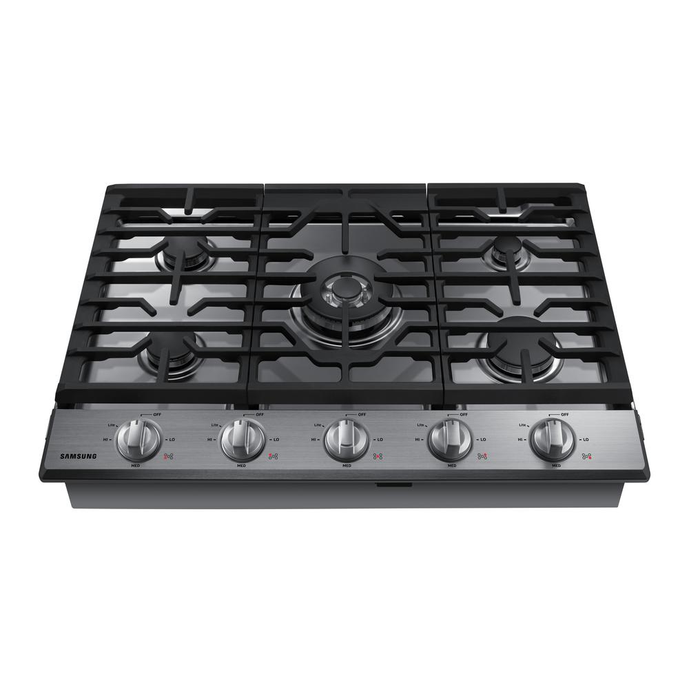 Delightful Gas Cooktop In Black Stainless Steel With 5 Burners Including Power Burner  With WiFi NA30K6550TG   The Home Depot