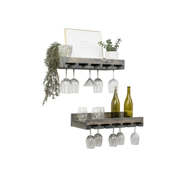 Rustic Luxe 24 in W x 10 in D Gray Stemware Decorative Shelves (Set of 2)