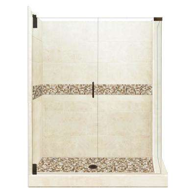 Roma Grand Hinged 36 in. x 48 in. x 80 in. Left-Hand Corner Shower Kit in Desert Sand and Old Bronze Hardware