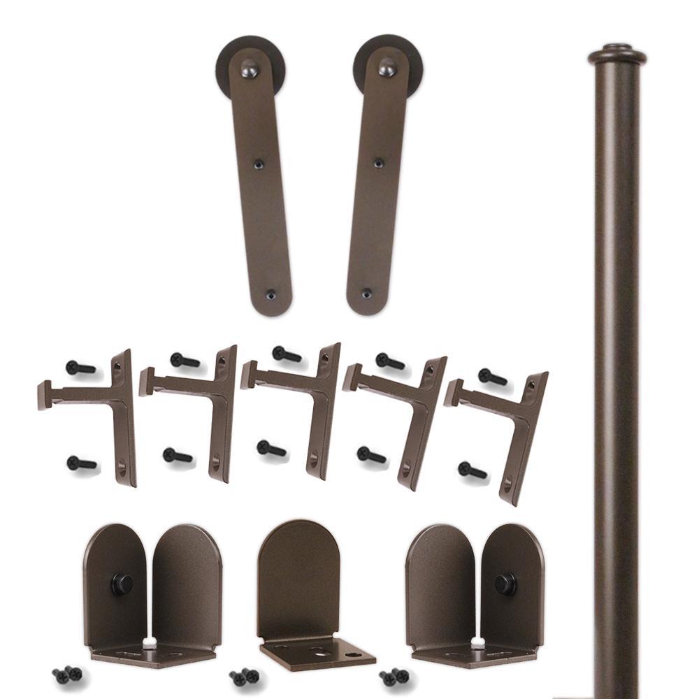 96 in. Stick Oil Rubbed Bronze Rolling Door Hardware Kit