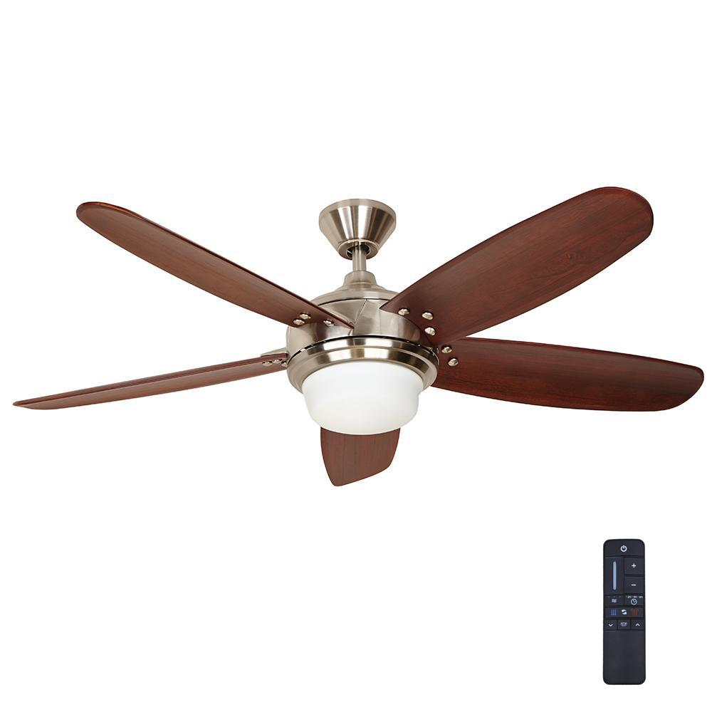 Breezmore 56 in. LED Brushed Nickel Ceiling Fan with Light Kit