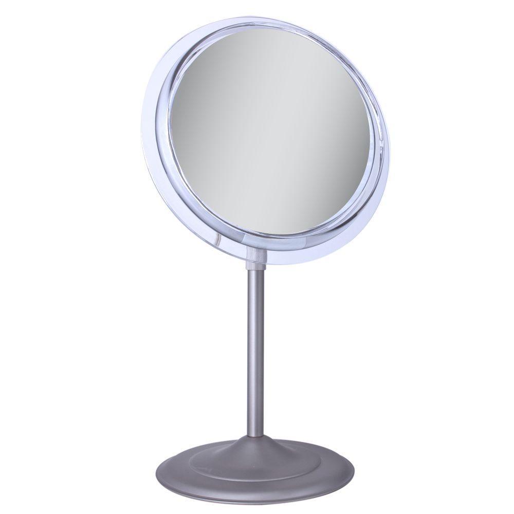 9.5 in. x 16 in. 7X Adjustable Pedestal Vanity Mirror in Satin Nickel