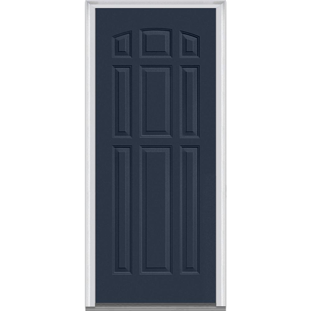 Mmi door 36 in x 80 in right hand inswing 9 panel for Prehung exterior doors with storm door