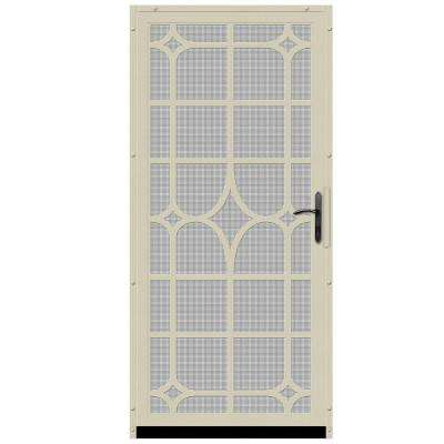 36 in. x 80 in. Lexington Almond Surface Mount Steel Security Door with Insect Screen and Bronze Hardware