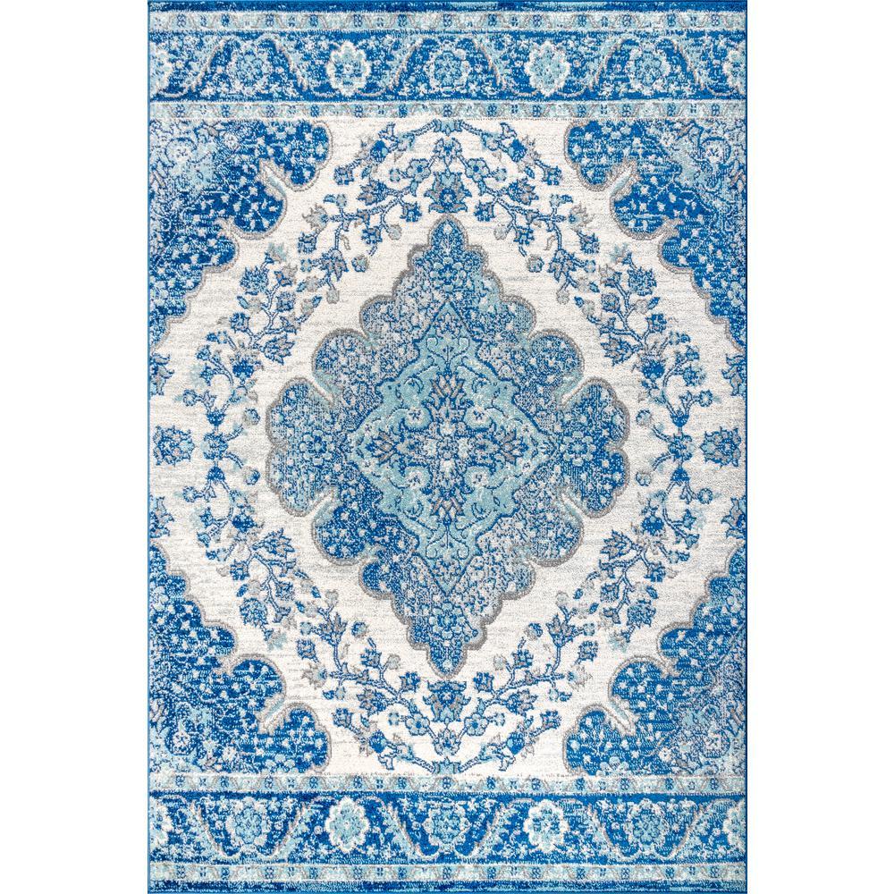 Bohemian Flair Boho Cream/Blue 3 ft. x 5 ft. Vintage Medallion Area Rug