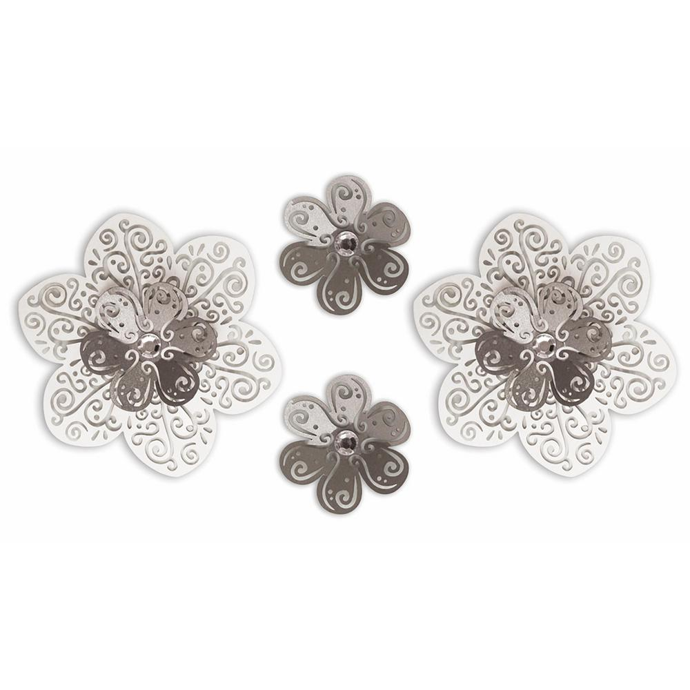5 in. x 10.5 in. 3D Cutout 4-Piece Flower Embellishments