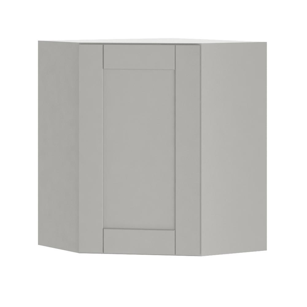 Hampton Bay Princeton Shaker Assembled 24x30x24 In Corner Wall Cabinet In Warm Gray Wcd242430