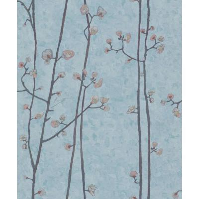 Baby Blue Plum Branches Wallpaper