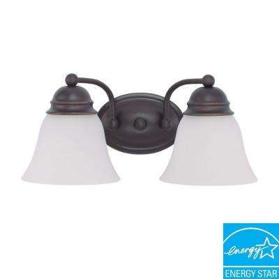 2-Light Mahogany Bronze Fluorescent Wall Vanity Light