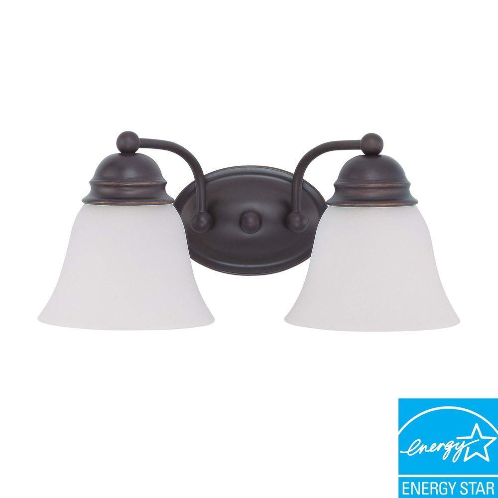 2-Light Mahogany Bronze Fluorescent Wall Vanity Light