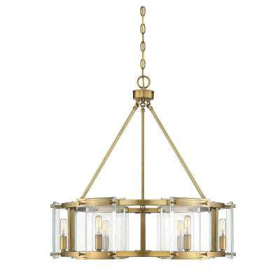 6-Light Warm Brass Pendant with Clear Glass