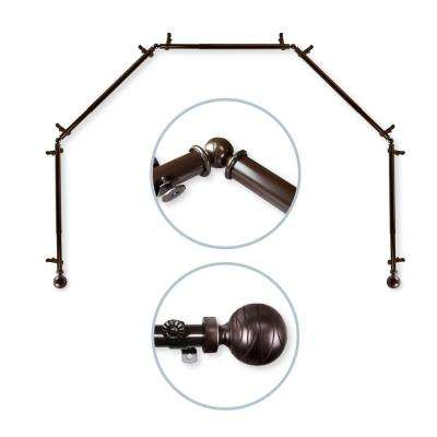 Arman 5 to Sided 13/16 in. Dia Bay Window Single Curtain Rod in Cocoa