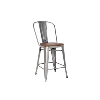 24 in. Gunmetal Backed Counter Stool (Set of 2)