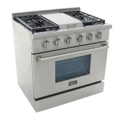 Pro-Style 36 in. 5.2 cu. ft. Natural Gas Range with Sealed Burners, Griddle and Convection Oven in Stainless Steel