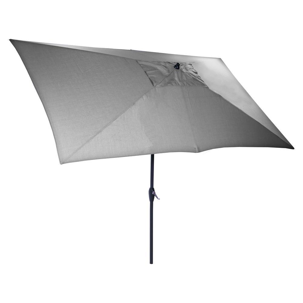 Hampton Bay 10 Ft X 6 Ft Aluminum Market Patio Umbrella In Pewter