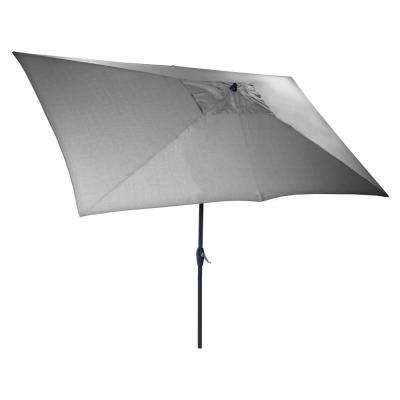 10 ft. x 6 ft. Aluminum Market Patio Umbrella in Pewter with Push-Button Tilt