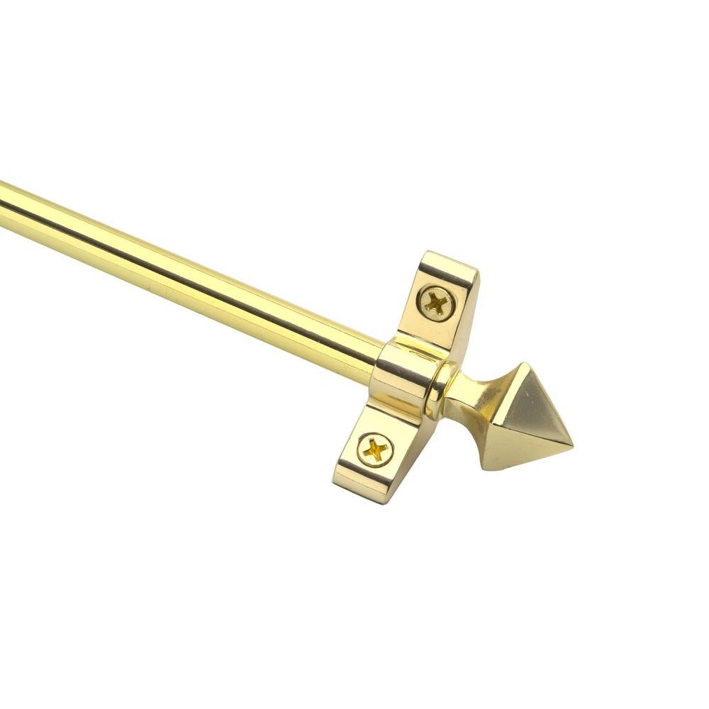 Zoroufy Plated Inspiration Collection Tubular 28.5 in. x 3/8 in. Polished Brass Finish Stair Rod Set with Pyramid Finials