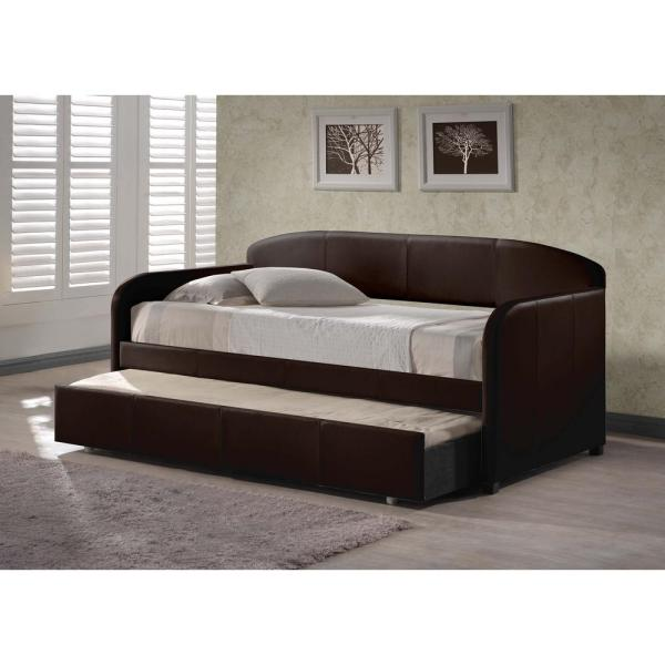 Hilale Furniture Springfield Brown Trundle Day Bed 161bt The Home Depot