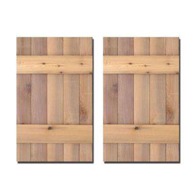 12 in. x 31 in. Natural Cedar Board-N-Batten Baton Shutters Pair