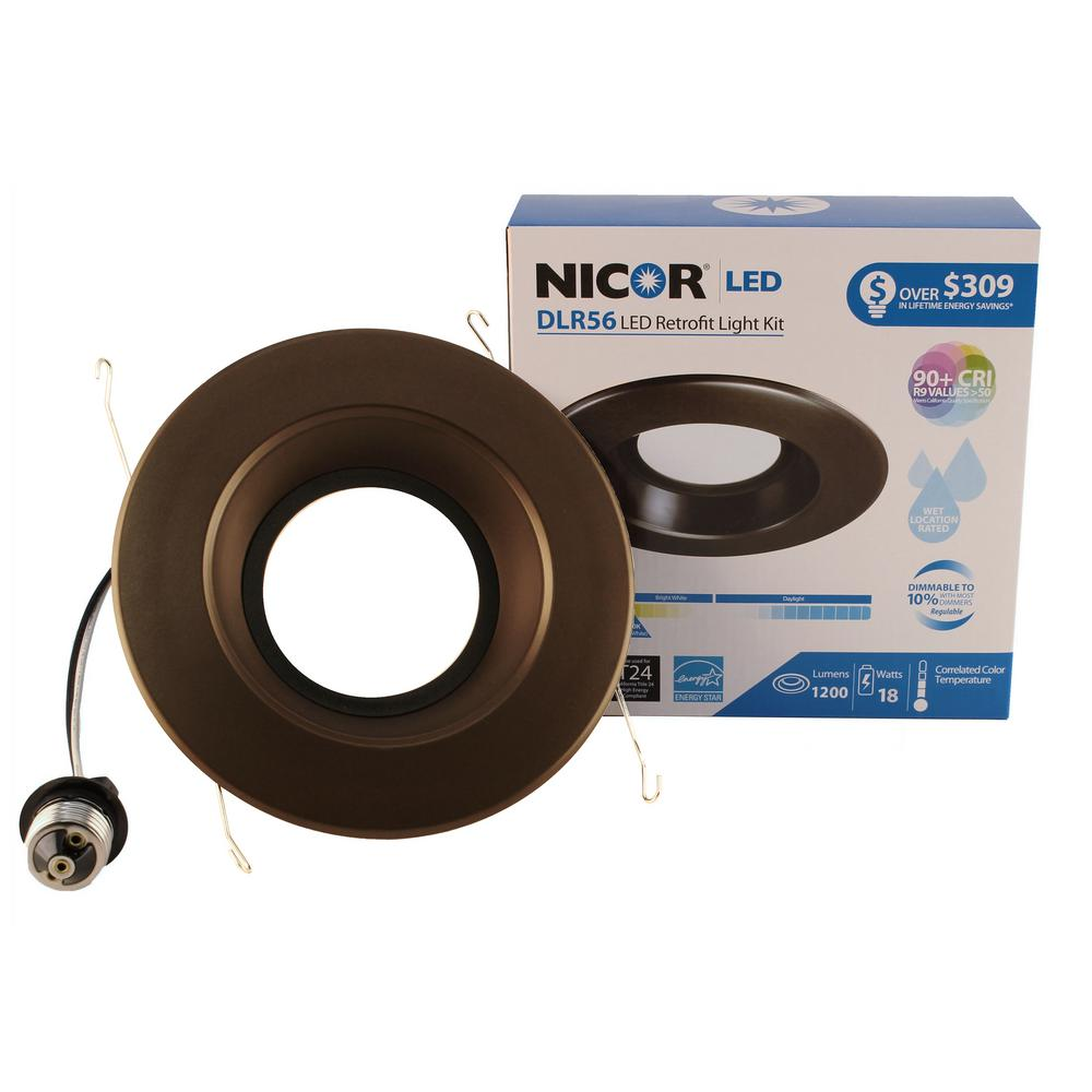 nicor dlr series 6 in oil rubbed bronze 1200 lumens integrated led