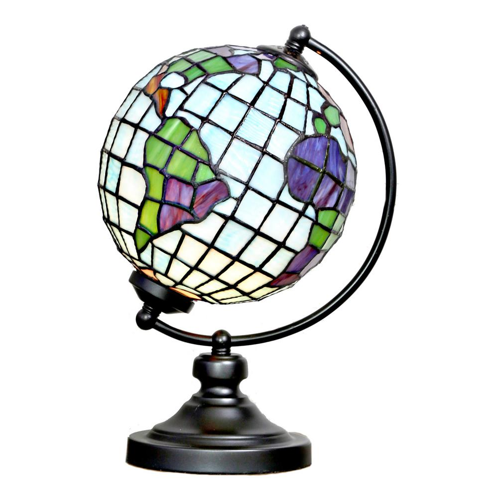 ce117cf097cf River of Goods 14.9 in. Multi-Colored Stained Glass Round Globe ...