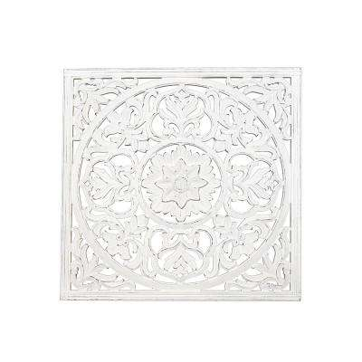 Zaria White Square Wooden Medallion