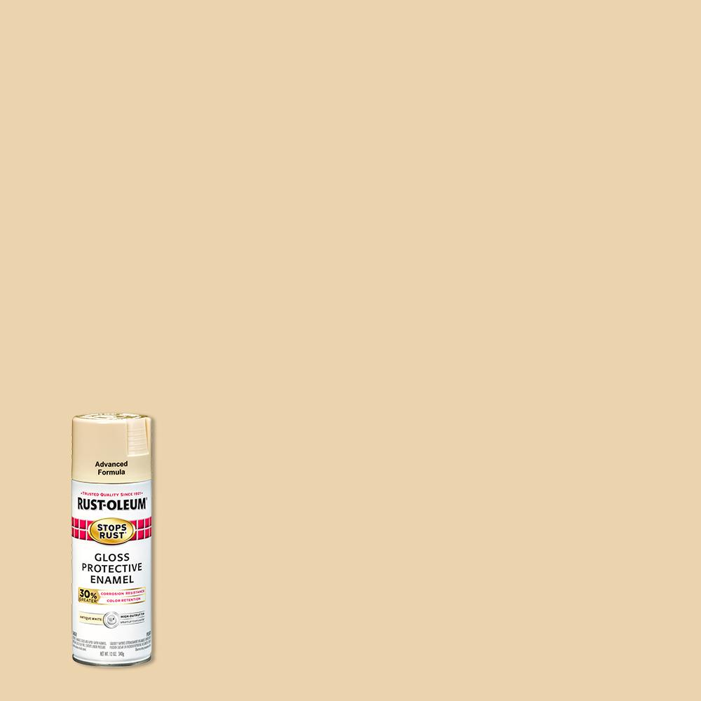 Rust-Oleum Stops Rust 12 oz. Advanced Protective Enamel Gloss Antique White Spray Paint (6 Pack)