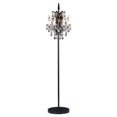 Phoenix 70 in. Distressed Black Floor Lamp