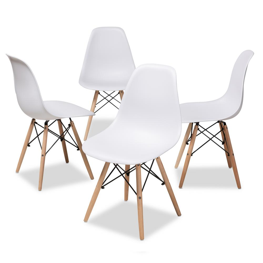 Baxton Studio Sydnea White Acrylic Dining Chair Set Of 4