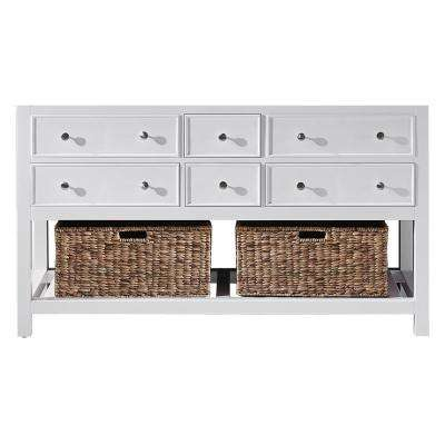 Elodie 59.2 in. W x 21.7 in. D x 33.5 in. H Bath Vanity Cabinet Only in White