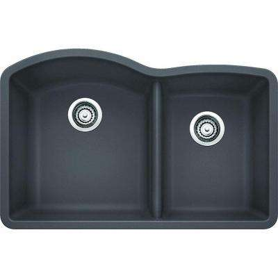 Diamond Undermount Granite Composite 32 in. 1-3/4 Double Bowl Kitchen Sink in Cinder