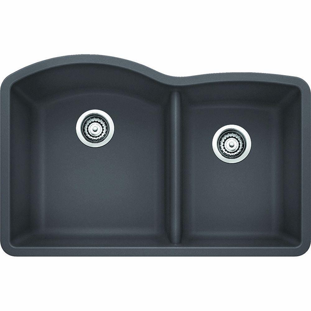 Diamond Undermount Granite Composite 32 in. 1-3/4 Double Bowl Kitchen Sink in Cinder