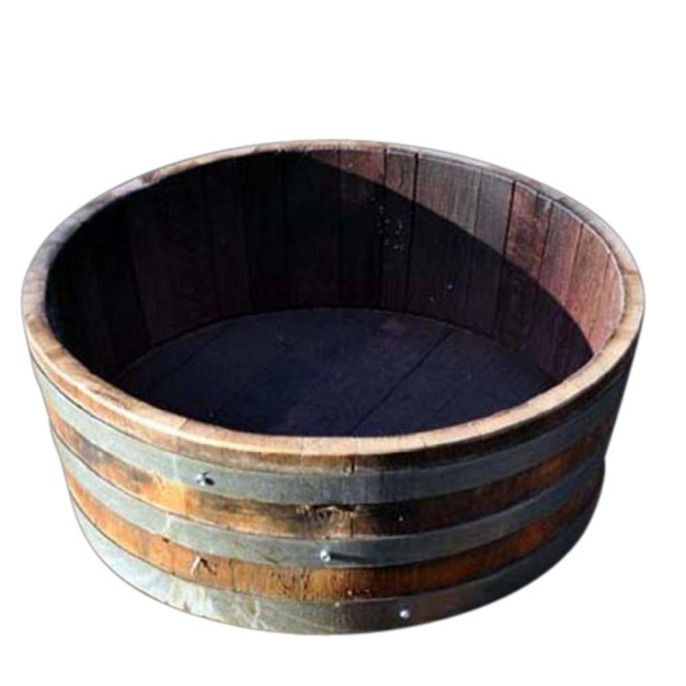 Master Garden Products Water 24 In W X 10 H Oak Shallow Wine Barrel Planter