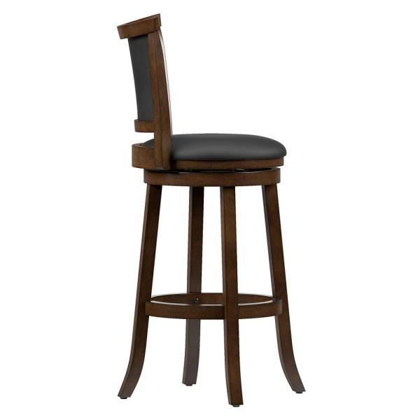 Corliving Woodgrove 29 In Wood Swivel Bar Stools With Black Bonded Leather Seat And Backrest Set Of 2 Dwg 109 B The Home Depot