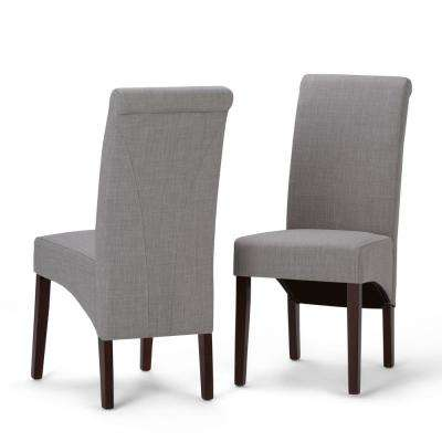 Avalon Contemporary Deluxe Parson Dining Chair (Set of 2) in Dove Grey Linen Look Fabric