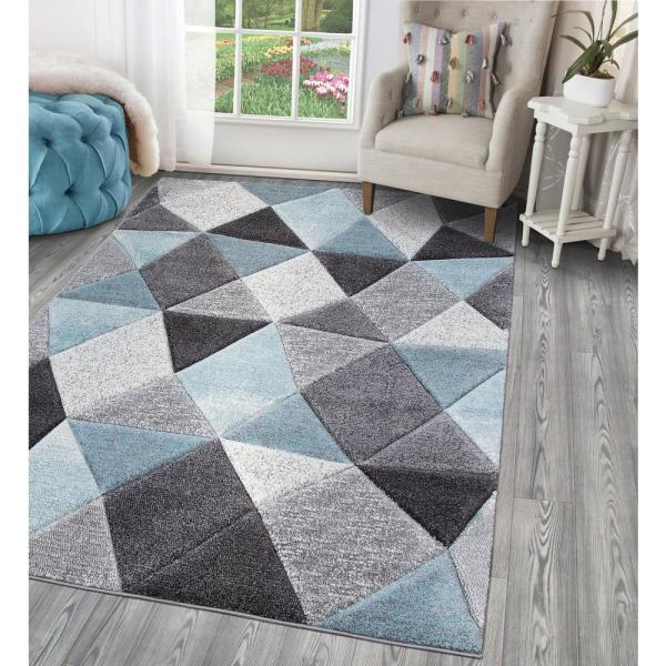Stylewell Dilaria Blue Multi Color 5 Ft X 7 Ft Geometric Hand Carved Area Rug Sw1396 5x7 The Home Depot