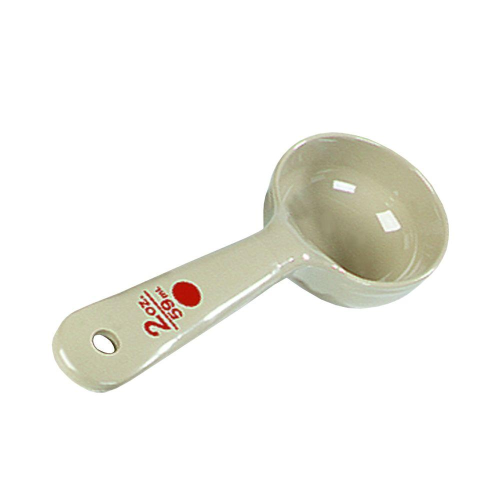2 oz. Short Handle Polycarbonate Solid Portioning Spoon in Beige (Case