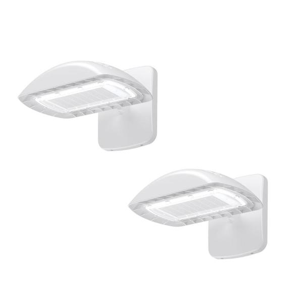 350-Watt Equivalent White Integrated Outdoor LED Flood Light Kit with Wall Pack Mount, 5500 Lumens (2-Pack)