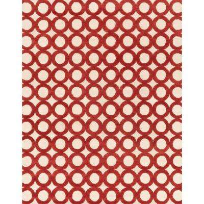 Weston Lifestyle Collection Ivory/Red 7 ft. 9 in. x 9 ft. 9 in. Area Rug