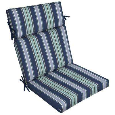 21 in. x 20 in. Sapphire Aurora Stripe Outdoor Dining Chair Cushion