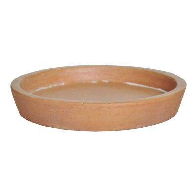 8 in. D White Washed Terra Cotta Composite Saucer