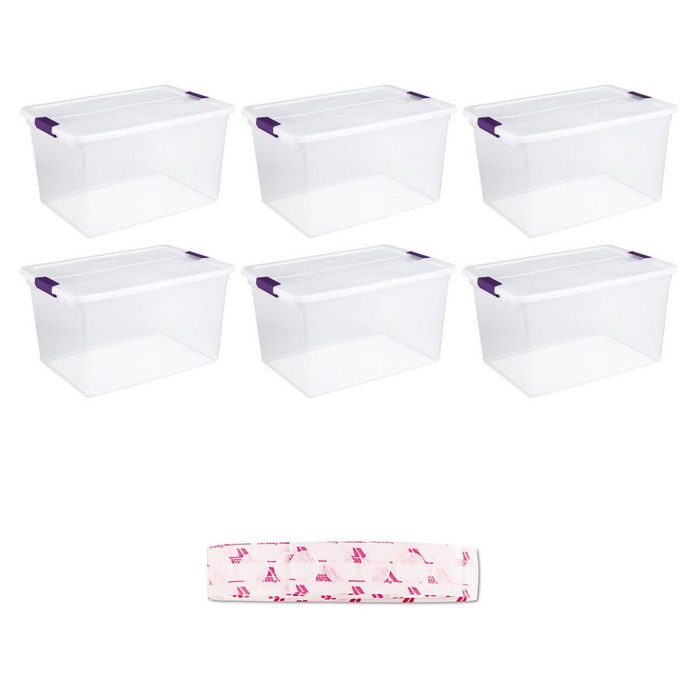 Sterilite 66 Qt. Storage Tote (6-Pack) with VELCRO Brand Sticky Coin (75-Pack)